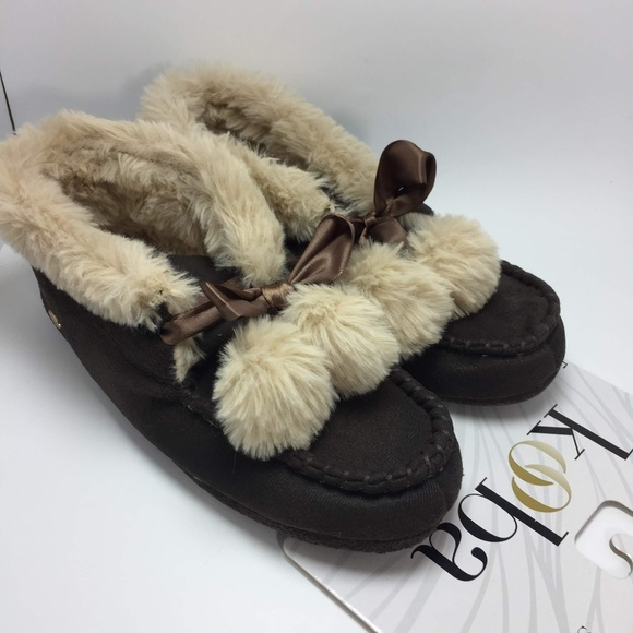 Nwt Kooba Moccasin Slippers Brown L